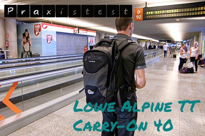 Praxistest des Handgepaeck-Rucksacks-Lowe Alpine TT Carry on bei Ryanair