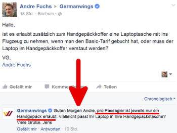 Anfrage ueber Facebook bei Eurowings Germanwings wegen kleiner Tasche