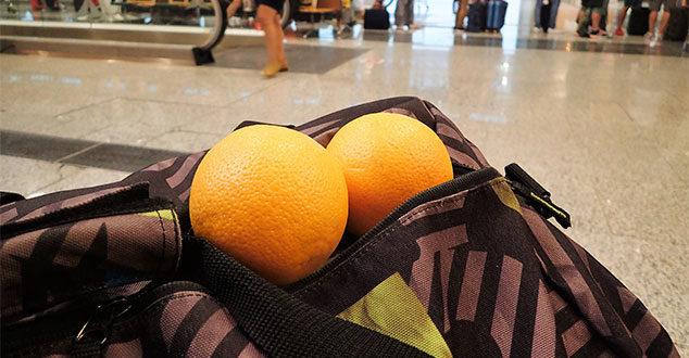 Obst kann im Handgepäck mitgenommen werden!