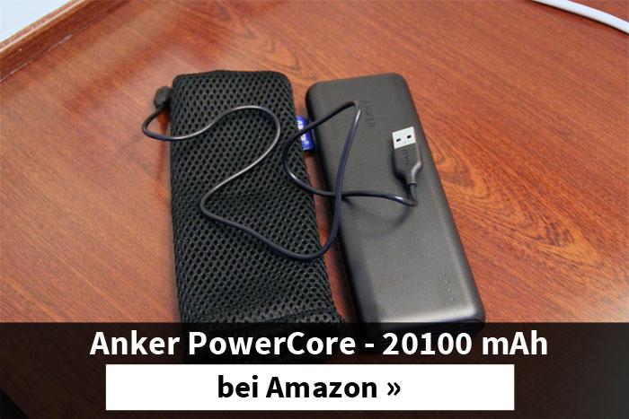 Die Anker PowerCore-Powerbank mit 20100mAh ist im Handgepäck erlaubt.