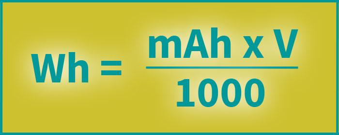 Formel zur Berechnung der Wattleistung Wh von Powerbanks im Handgepäck