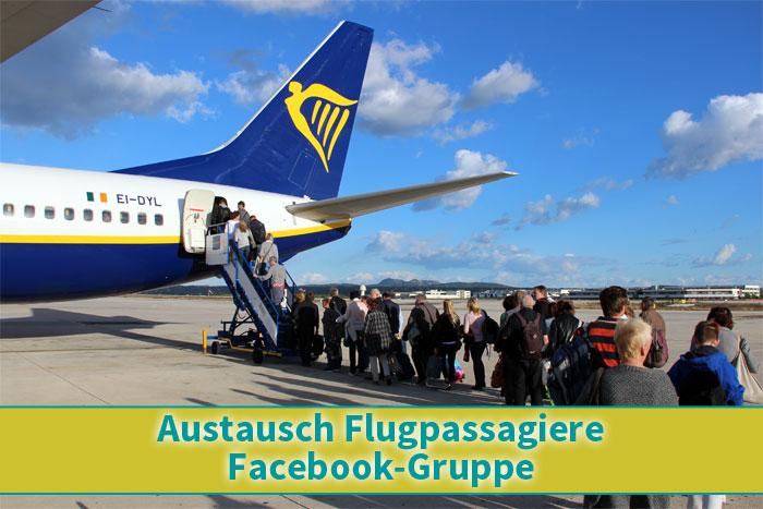 Austausch Flugpassagiere Facebook Gruppe